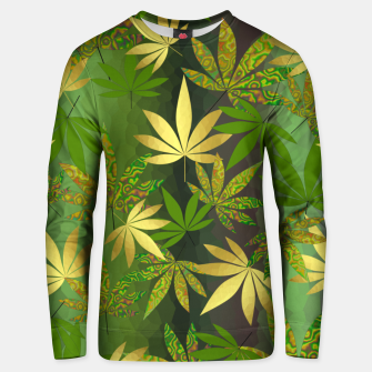 Miniatur Gold Weed Leaves Unisex sweater, Live Heroes