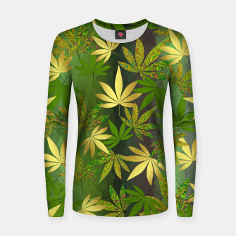 Miniatur Gold Weed Leaves Women sweater, Live Heroes