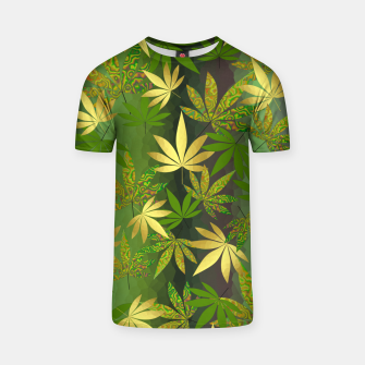 Miniatur Gold Weed Leaves T-shirt, Live Heroes