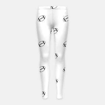 Miniatur American Football Ball Motif Pattern Girl's leggings, Live Heroes