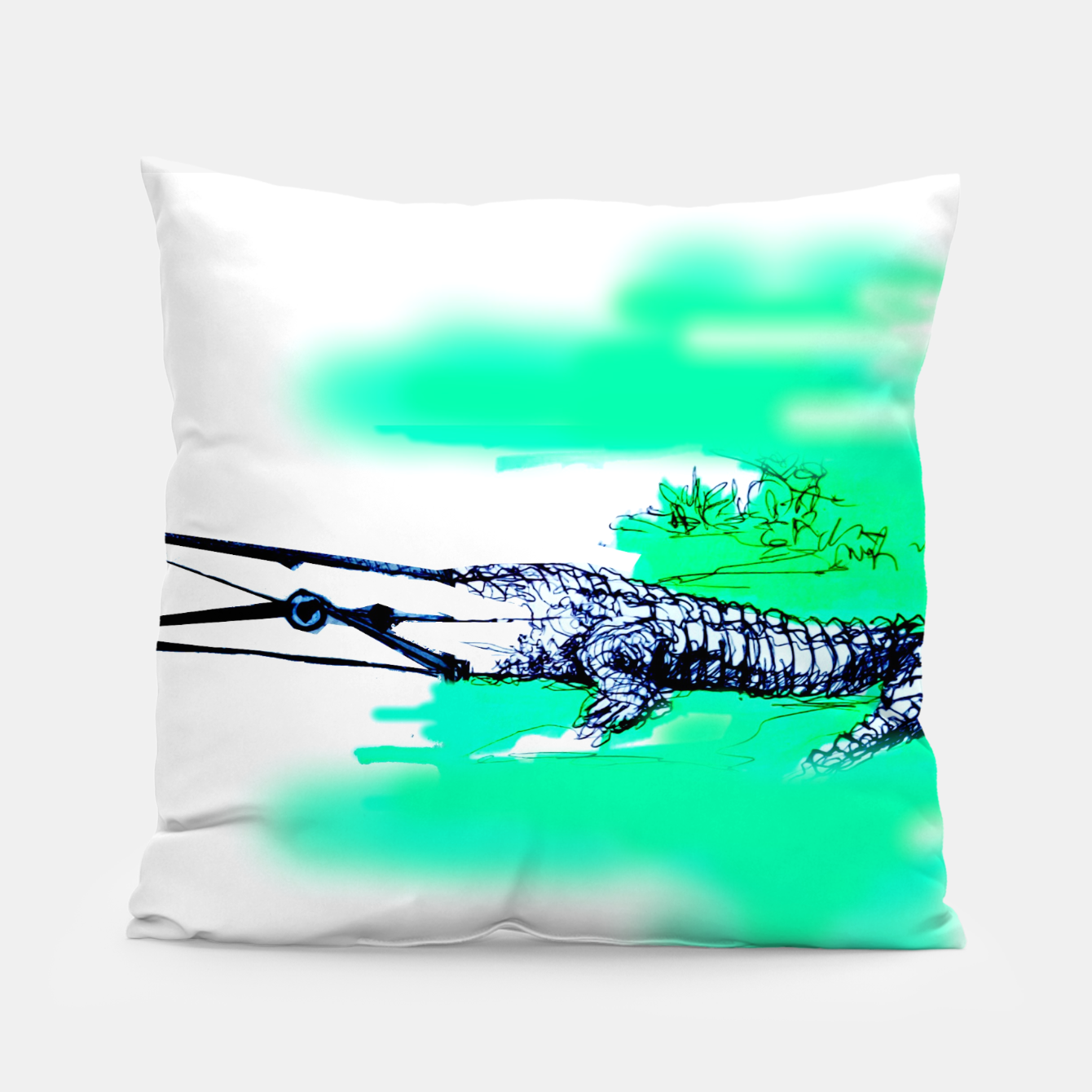 Image of crocodile blues Yulia A Korneva home made Pillow - Live Heroes