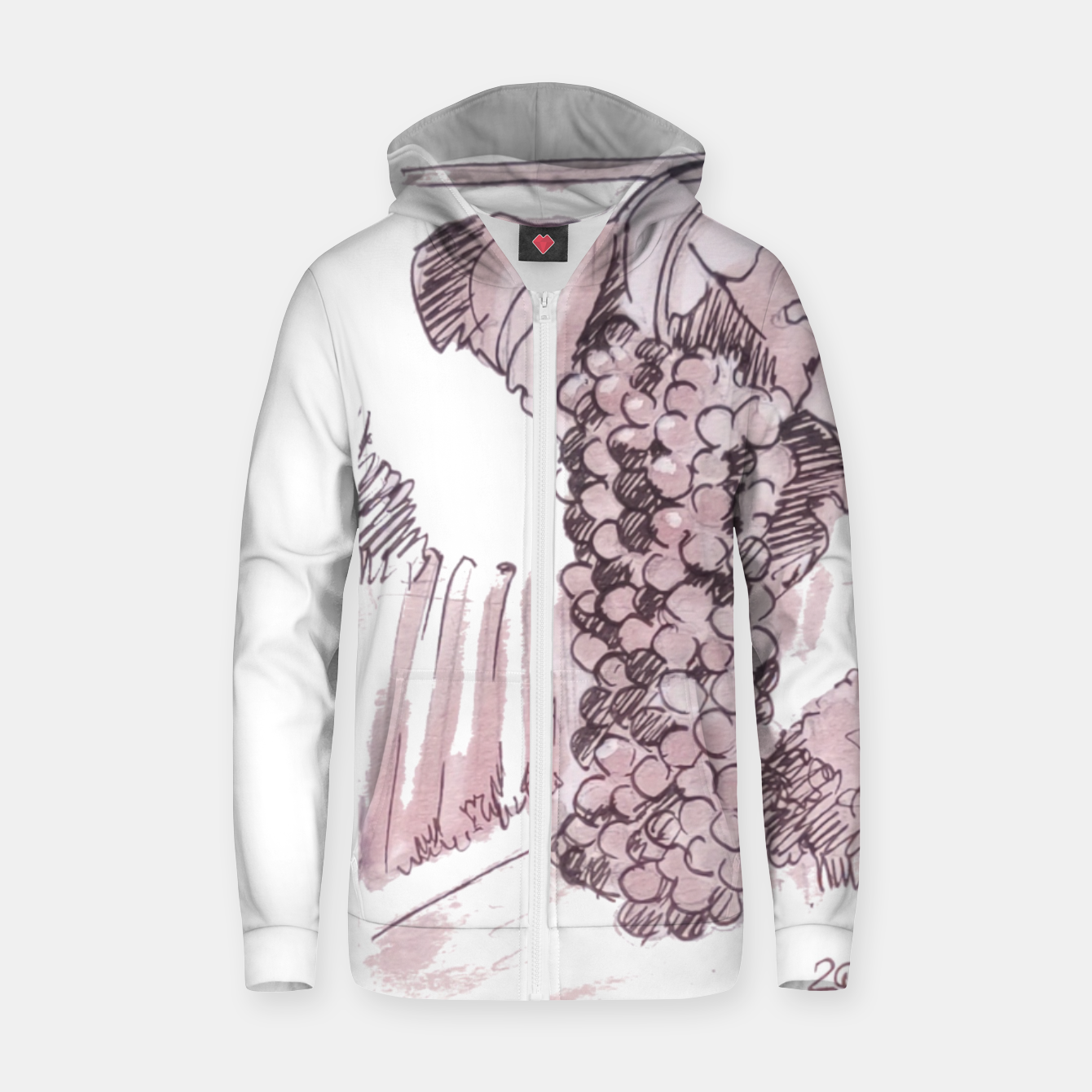 Image of Bonarda grapes wine watercolor Yulia A Korneva Zip up hoodie - Live Heroes