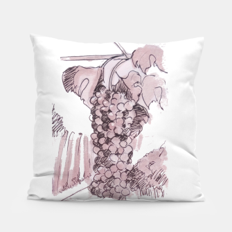 Miniaturka Bonarda grapes wine watercolor by yulia a korneva Pillow, Live Heroes