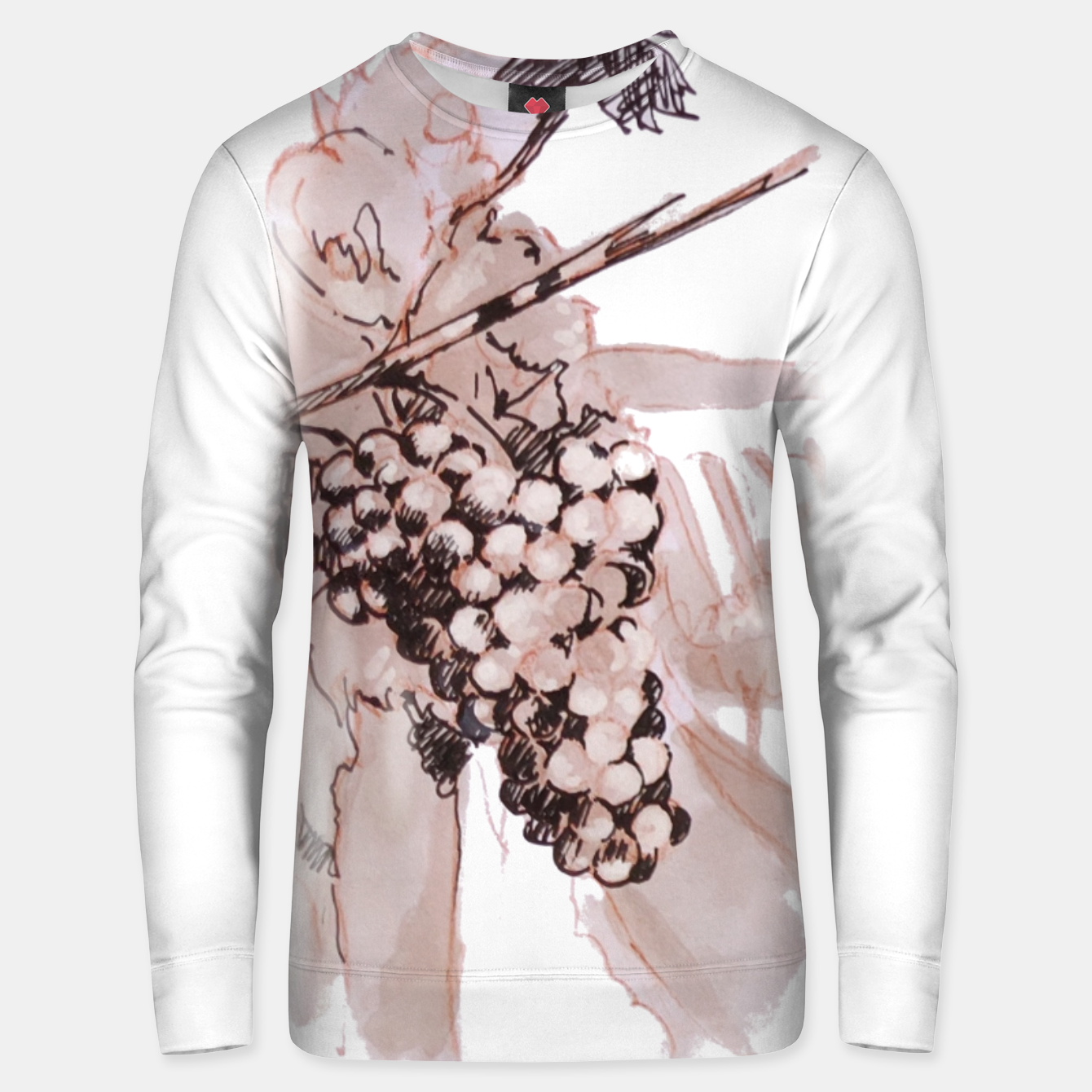 Image of Sangiovese landscape and grapes wine watercolor Yulia A Korneva Unisex sweater - Live Heroes