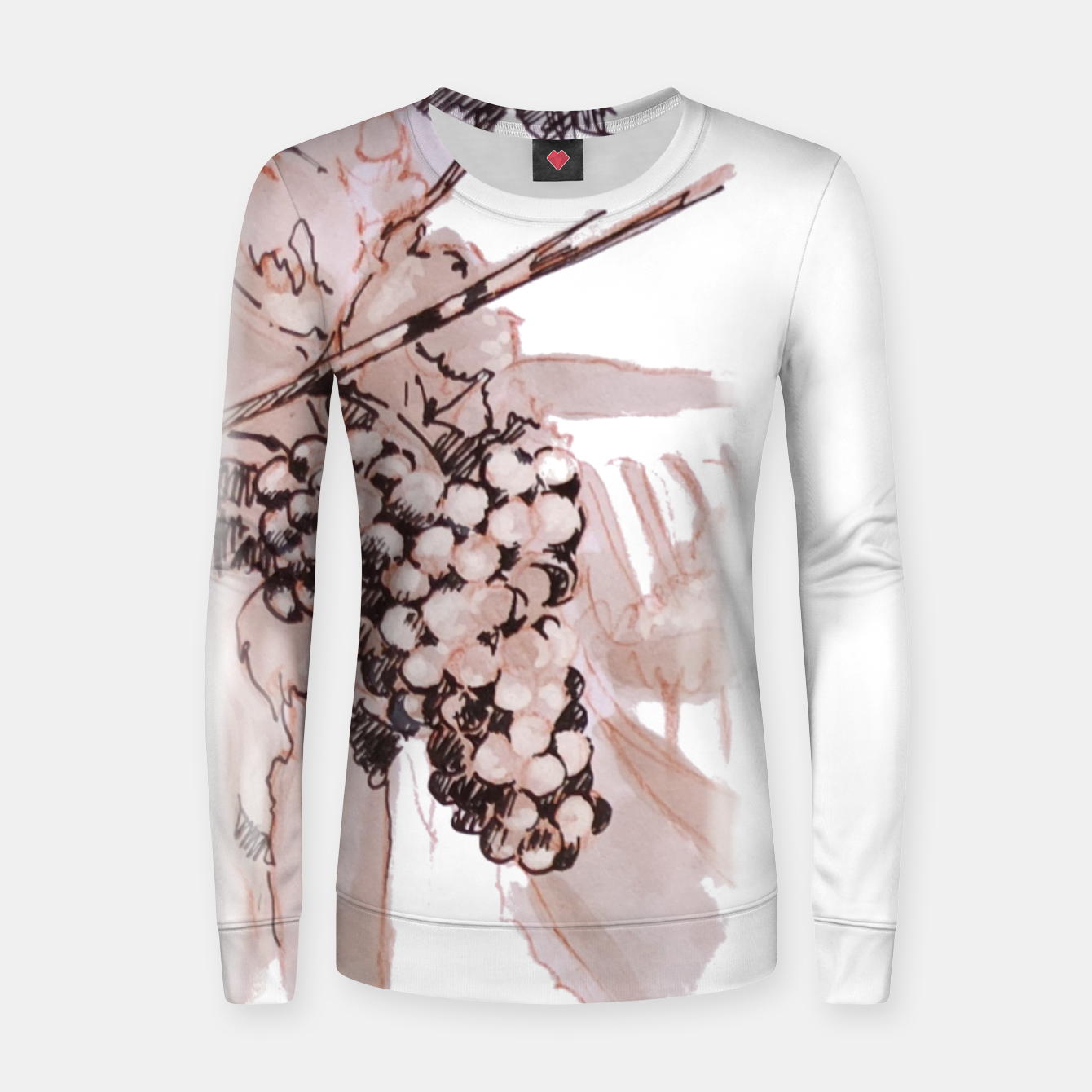Image of Sangiovese landscape and grapes wine watercolor Yulia A Korneva Women sweater - Live Heroes