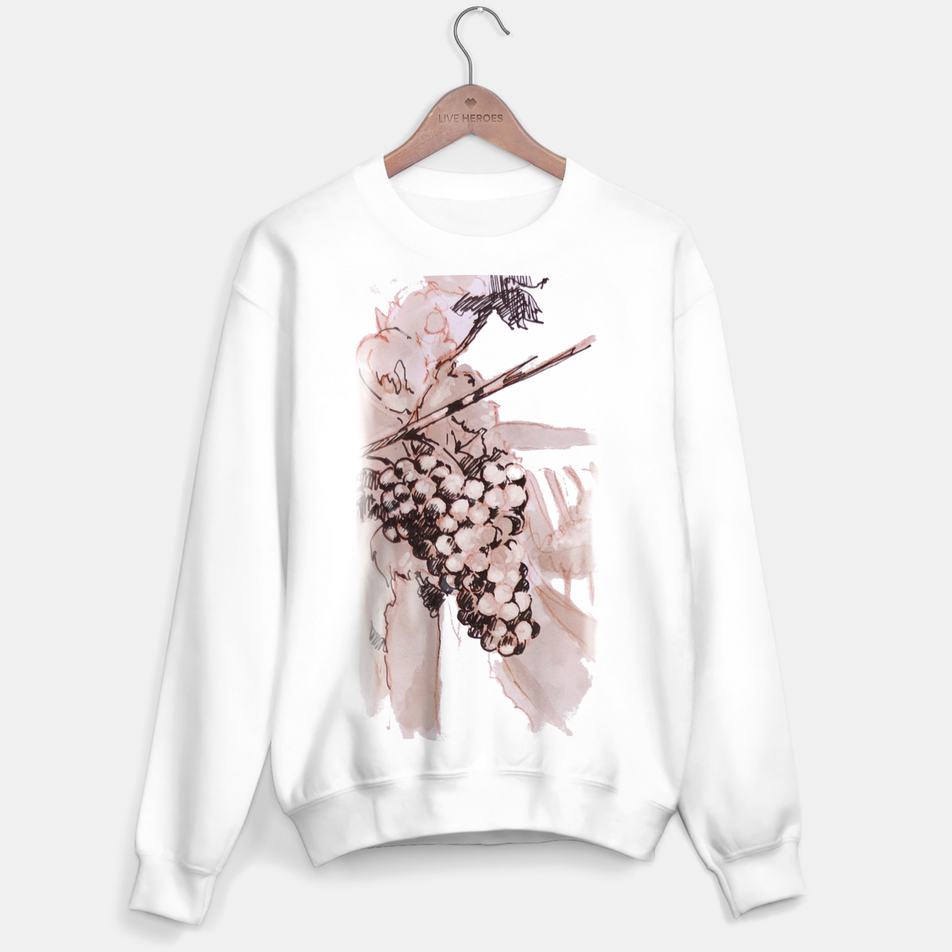 Image of Sangiovese landscape and grapes wine watercolor Yulia A Korneva Sweater regular - Live Heroes