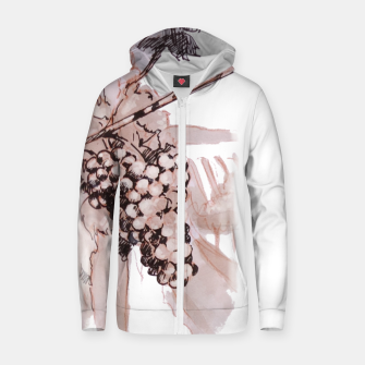 Thumbnail image of Sangiovese landscape and grapes wine watercolor Yulia A Korneva Zip up hoodie, Live Heroes
