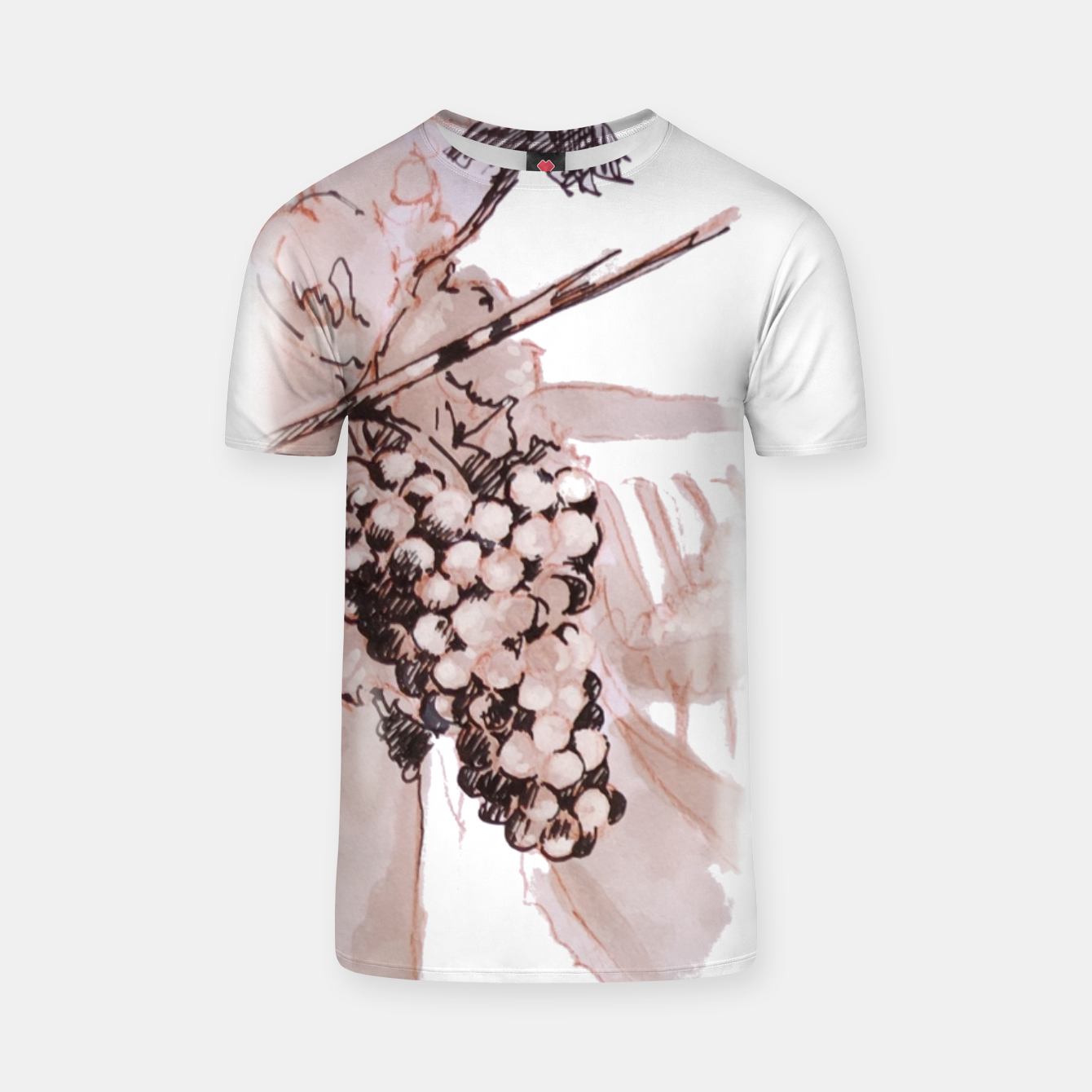 Image of Sangiovese landscape and grapes wine watercolor Yulia A Korneva T-shirt - Live Heroes