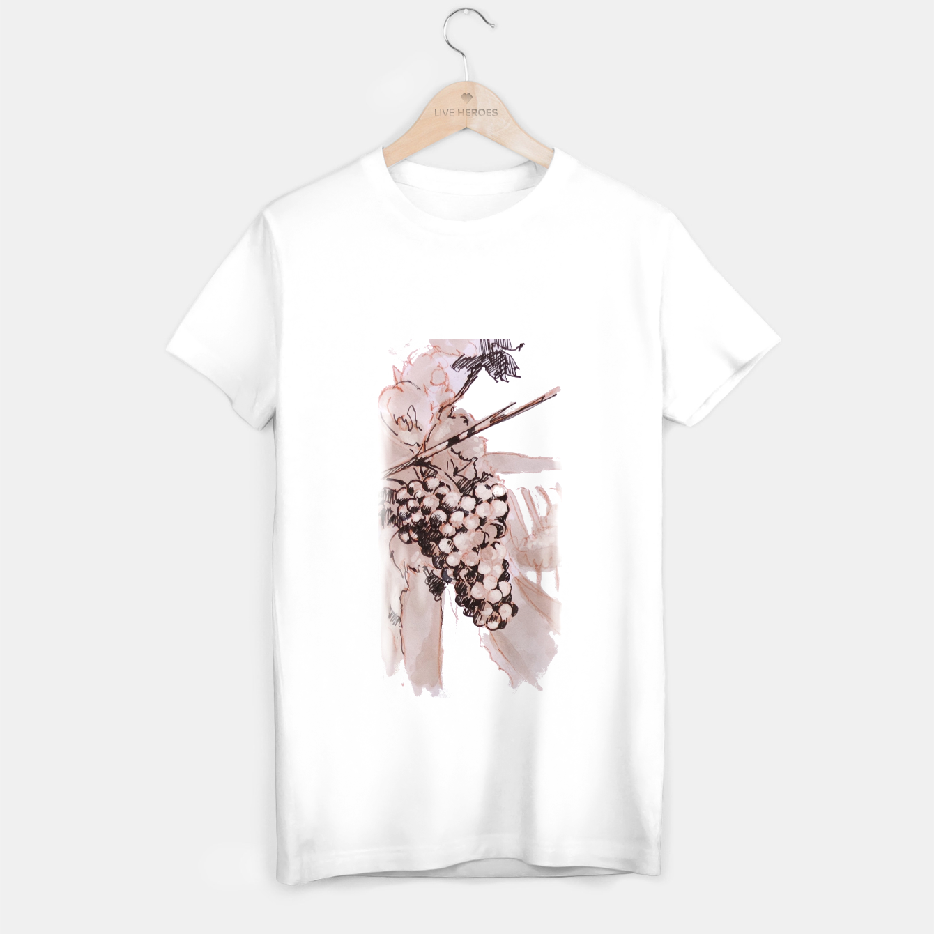 Image of Sangiovese landscape and grapes wine watercolor Yulia A Korneva T-shirt regular - Live Heroes