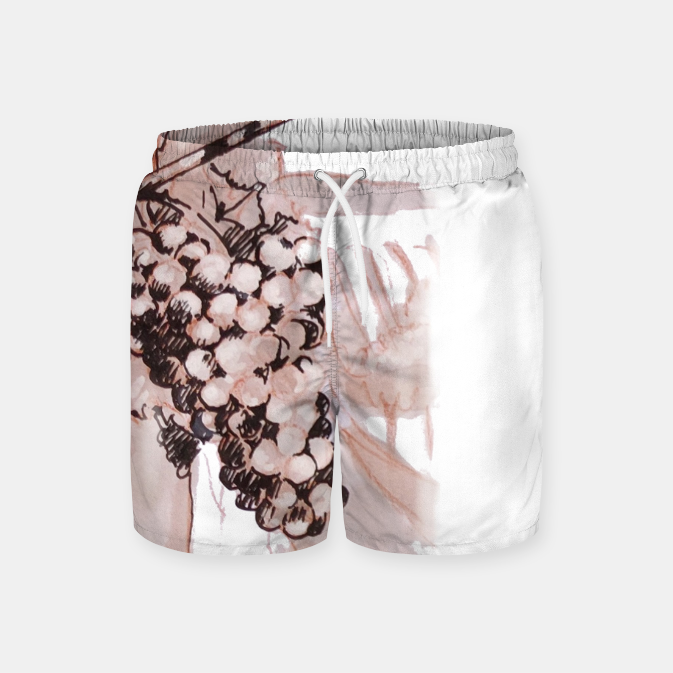 Image of Sangiovese landscape and grapes wine watercolor Yulia A Korneva Swim Shorts - Live Heroes