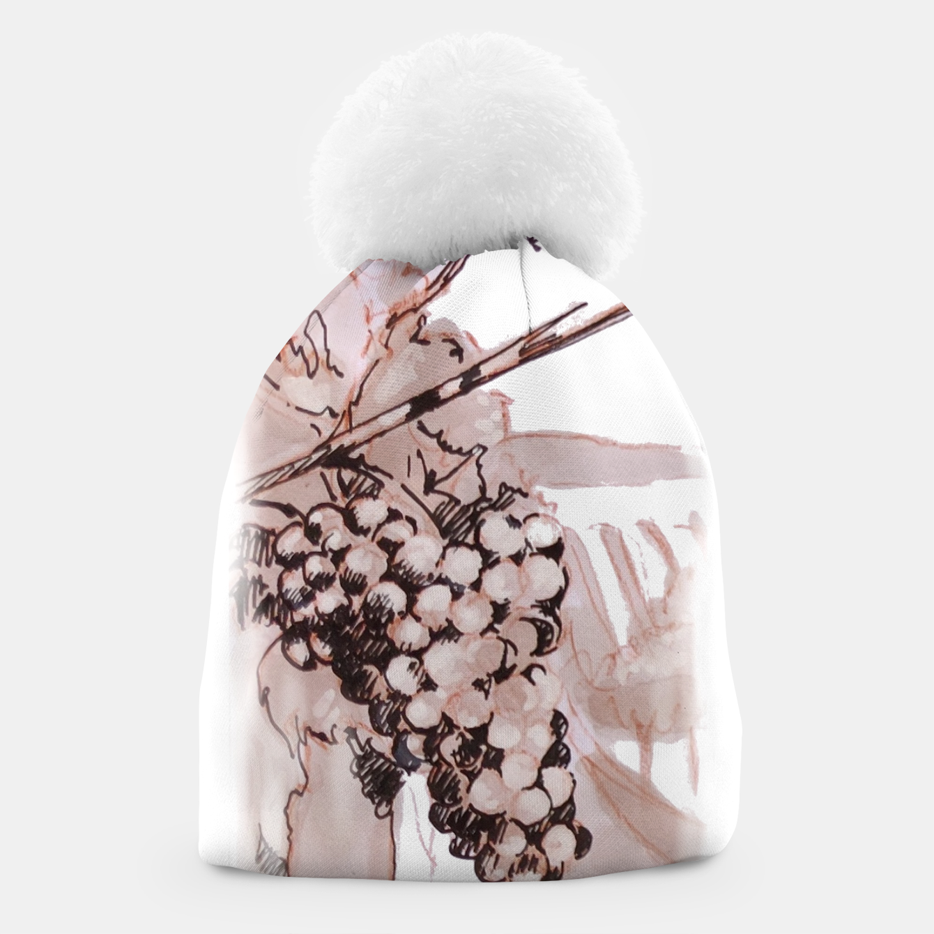 Image of Sangiovese landscape and grapes wine watercolor Yulia A Korneva Beanie - Live Heroes