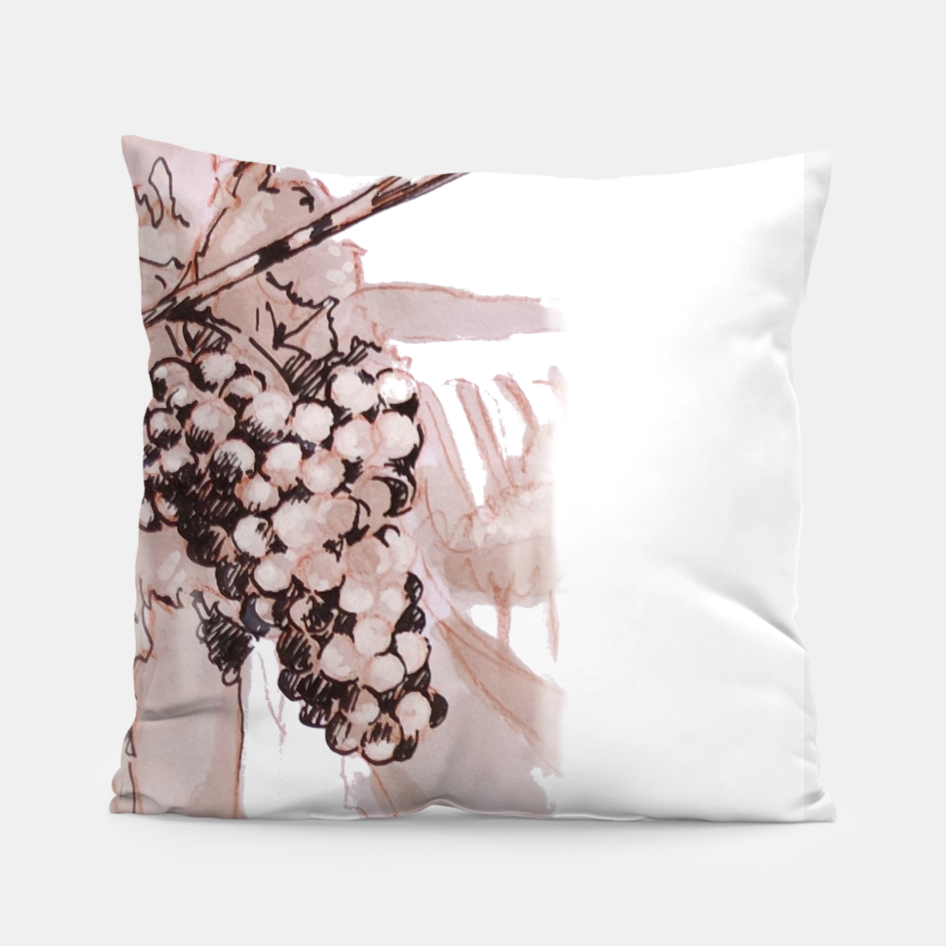 Image of Sangiovese landscape and grapes wine watercolor Yulia A Korneva Pillow - Live Heroes