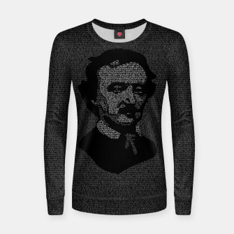 Thumbnail image of Edgar Allan Poe The Raven Typography Portrait Women sweater, Live Heroes