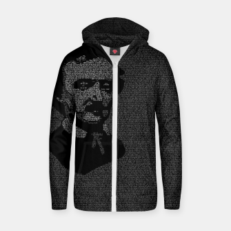 Miniatur Edgar Allan Poe The Raven Typography Portrait Zip up hoodie, Live Heroes