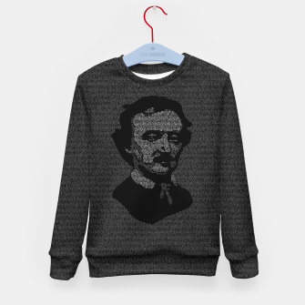 Miniatur Edgar Allan Poe The Raven Typography Portrait Kid's sweater, Live Heroes