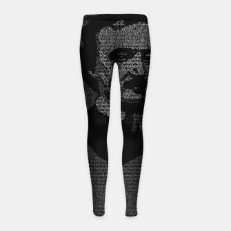 Thumbnail image of Edgar Allan Poe The Raven Typography Portrait Girl's leggings, Live Heroes