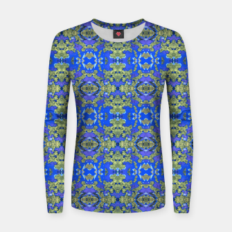 Miniatur Gold and Blue Fancy Ornate Pattern Women sweater, Live Heroes