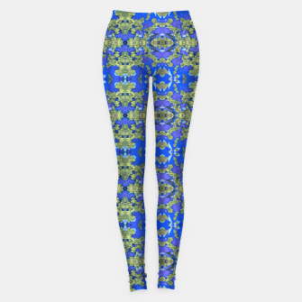 Miniaturka Gold and Blue Fancy Ornate Pattern Leggings, Live Heroes