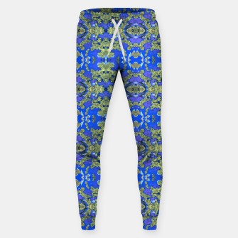 Miniatur Gold and Blue Fancy Ornate Pattern Sweatpants, Live Heroes