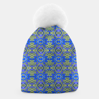 Miniatur Gold and Blue Fancy Ornate Pattern Beanie, Live Heroes