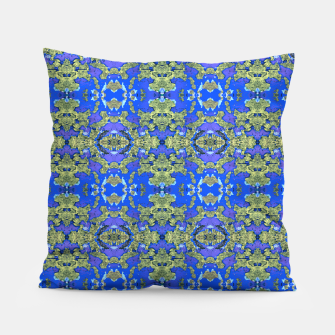 Miniatur Gold and Blue Fancy Ornate Pattern Pillow, Live Heroes