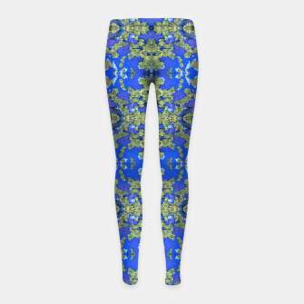 Miniatur Gold and Blue Fancy Ornate Pattern Girl's leggings, Live Heroes