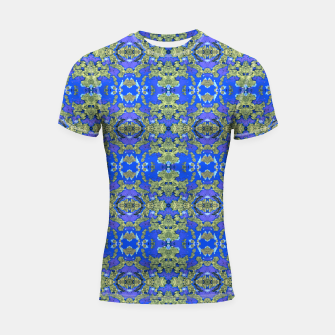 Miniatur Gold and Blue Fancy Ornate Pattern Shortsleeve rashguard, Live Heroes