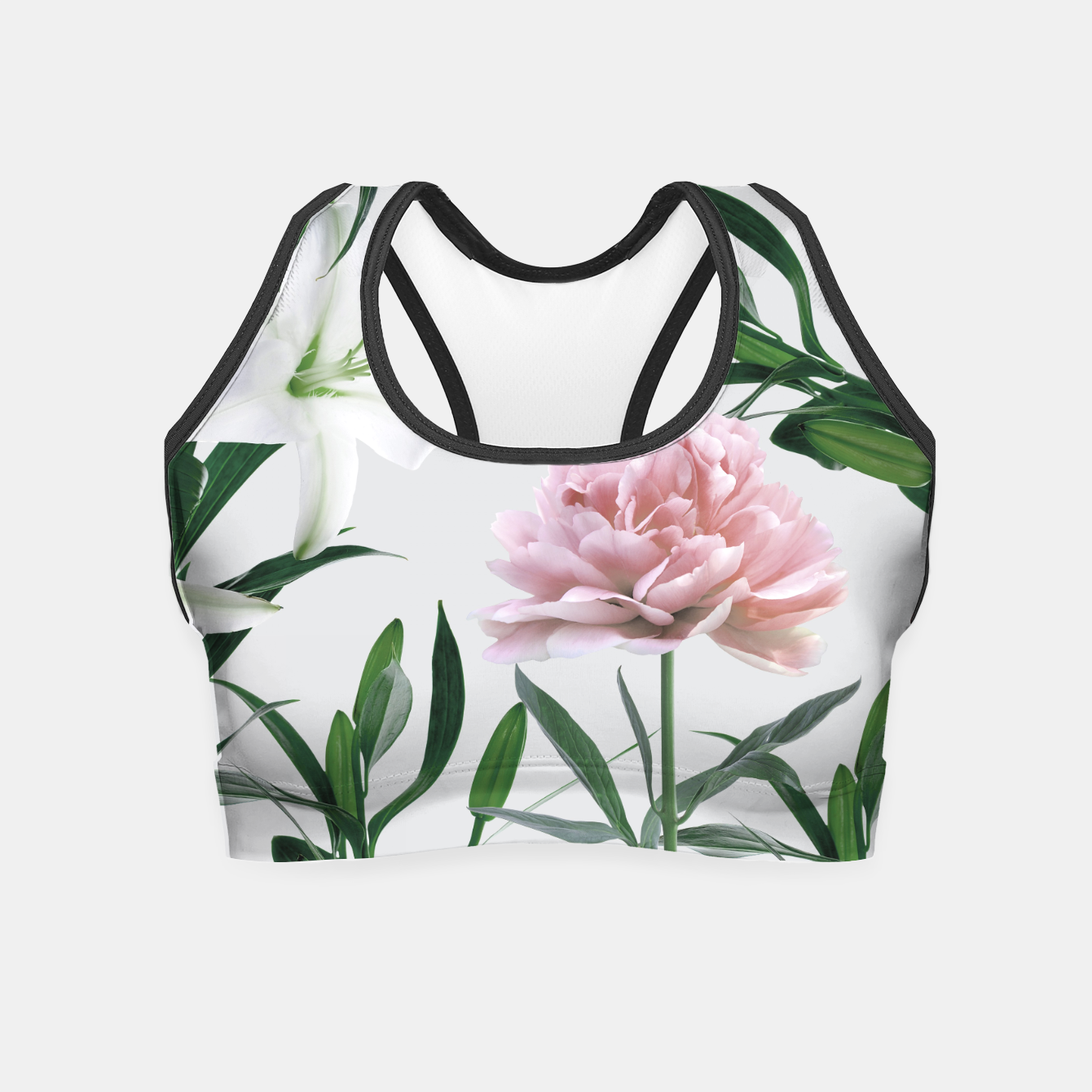 Image of Pink Peony White Lily Crop Top - Live Heroes