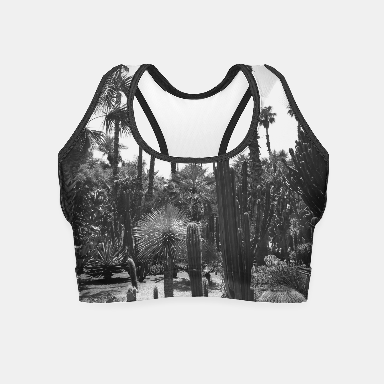 Image of Tropical Cacti Gardens Black and White Crop Top - Live Heroes