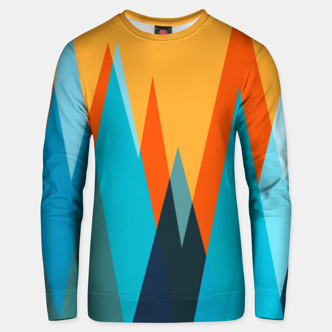 Image of Ice mountain peaks, captivating sunset, geometric landscape design Unisex sweater - Live Heroes