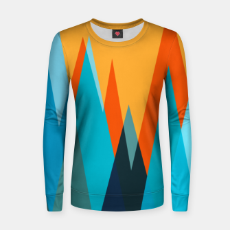 Ice mountain peaks, captivating sunset, geometric landscape design Women sweater thumbnail image