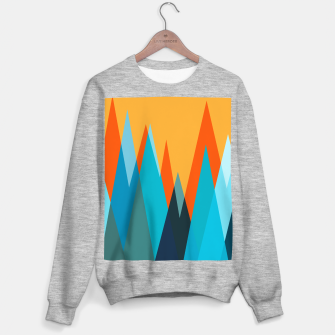 Ice mountain peaks, captivating sunset, geometric landscape design Sweater regular thumbnail image