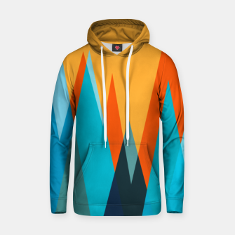 Ice mountain peaks, captivating sunset, geometric landscape design Hoodie thumbnail image