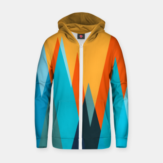 Ice mountain peaks, captivating sunset, geometric landscape design Zip up hoodie thumbnail image