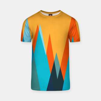 Ice mountain peaks, captivating sunset, geometric landscape design T-shirt thumbnail image