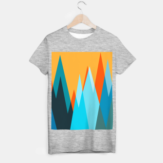 Ice mountain peaks, captivating sunset, geometric landscape design T-shirt regular thumbnail image