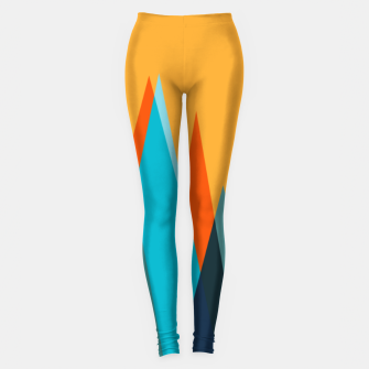 Ice mountain peaks, captivating sunset, geometric landscape design Leggings thumbnail image
