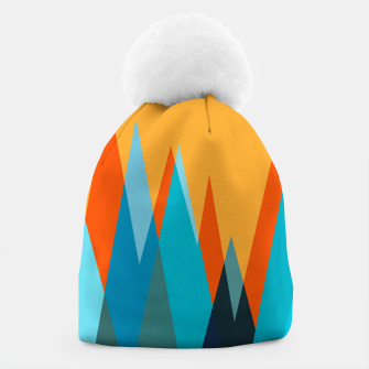 Ice mountain peaks, captivating sunset, geometric landscape design Beanie thumbnail image
