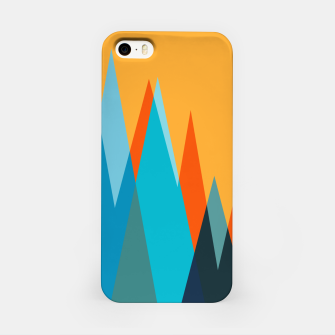 Ice mountain peaks, captivating sunset, geometric landscape design iPhone Case thumbnail image