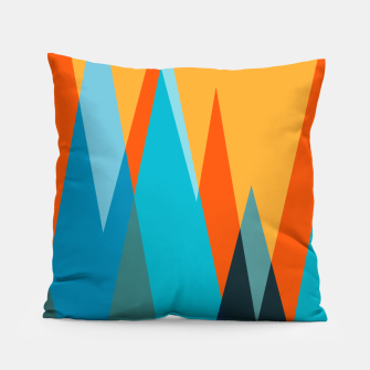 Ice mountain peaks, captivating sunset, geometric landscape design Pillow thumbnail image