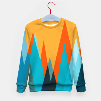 Ice mountain peaks, captivating sunset, geometric landscape design Kid's sweater thumbnail image
