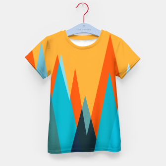 Miniature de image de Ice mountain peaks, captivating sunset, geometric landscape design Kid's t-shirt, Live Heroes