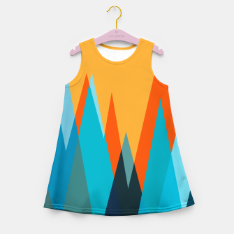 Ice mountain peaks, captivating sunset, geometric landscape design Girl's summer dress thumbnail image