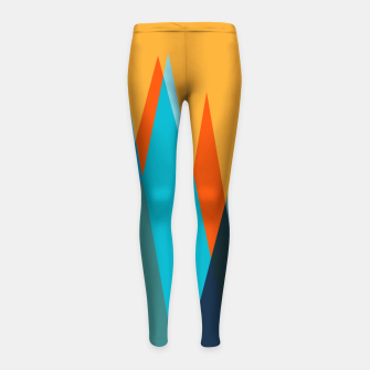 Ice mountain peaks, captivating sunset, geometric landscape design Girl's leggings thumbnail image