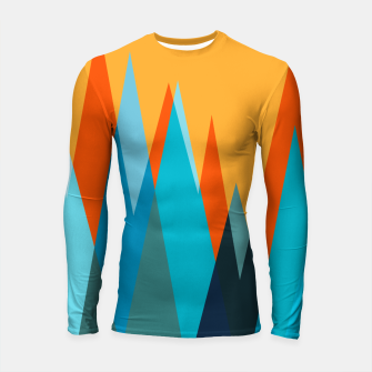 Ice mountain peaks, captivating sunset, geometric landscape design Longsleeve rashguard  thumbnail image