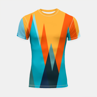 Ice mountain peaks, captivating sunset, geometric landscape design Shortsleeve rashguard thumbnail image