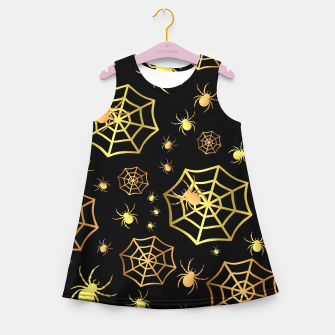 Miniatur Spiders In Gold Girl's summer dress, Live Heroes