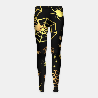Miniatur Spiders In Gold Girl's leggings, Live Heroes