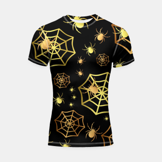 Thumbnail image of Spiders In Gold Shortsleeve rashguard, Live Heroes