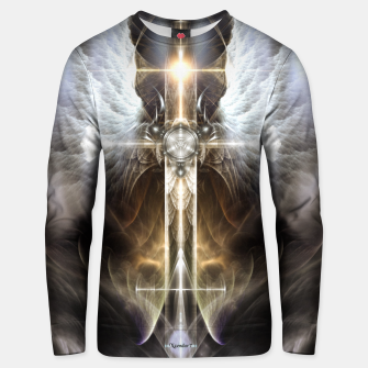 Thumbnail image of Heavenly Angel Wing Cross Black Steel Fractal Art Composition Unisex sweater, Live Heroes